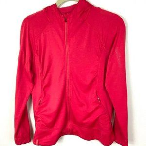 Salomon Zip Up Hooded Activewear Sweater Red Large